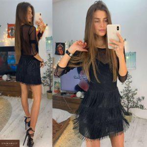 Заказать в подарок женское платье с бахромой из эластичного трикотажа черного цвета на корпоратив оптом Украина