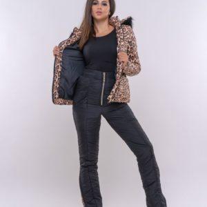Купить дешево женский костюм леопардовый лыжный из влагостойкой ткани с поясом в подарок