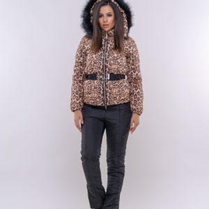 Приобрести недорого женский леопардовый лыжный костюм из влагостойкой ткани с поясом оптом Украина