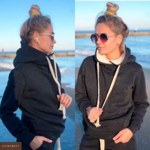 Приобрести недорого женский теплый костюм спортивный на флисе с капюшоном графитового цвета оптом Украина