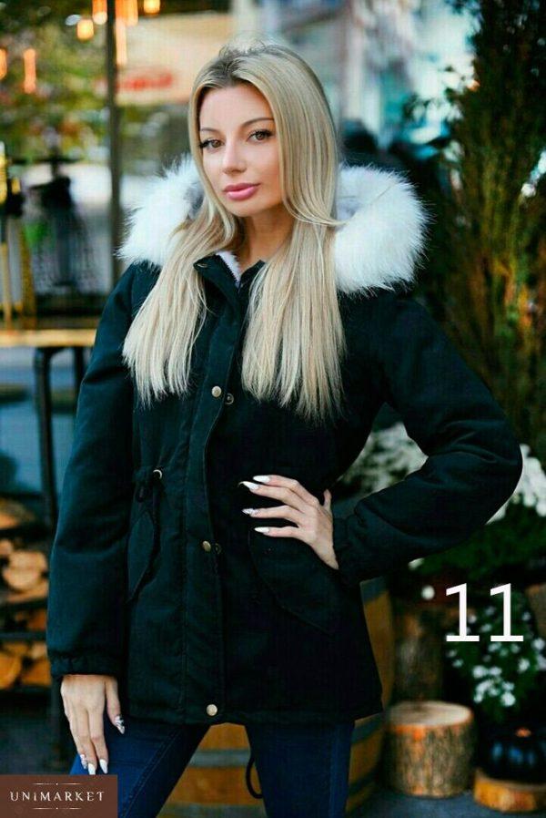Купить в интернет-магазине женскую парку с капюшоном и искусственным енота мехом больших размеров недорого