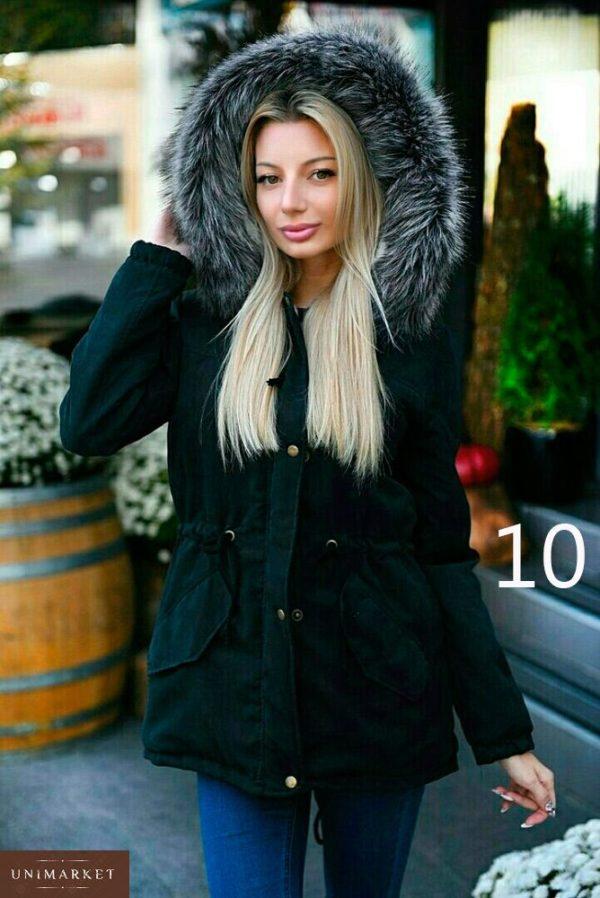 Приобрести дешево женскую с капюшоном и искусственным мехом парку енота батал Украина