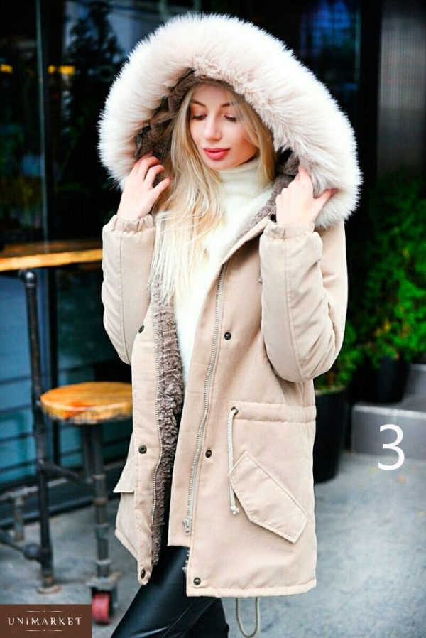 Купить в интернет-магазине женскую парку из меха искусственного с капюшоном енота больших размеров недорого