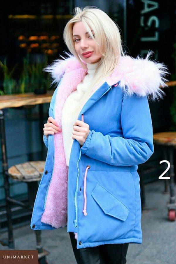Приобрести дешево парку женскую с капюшоном и искусственным мехом енота батал Украина