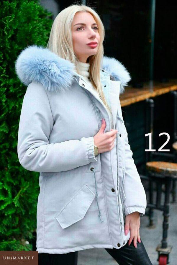 Заказать в интернет-магазине женскую парку с капюшоном и искусственным мехом енота батал дешево