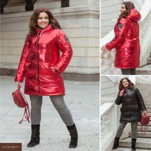 Купить дешево женскую куртку стёганную двухстороннюю на кнопках черно-красного цвета батал в подарок