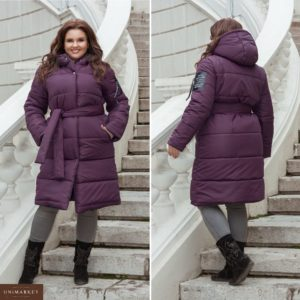 Купить дешево женскую куртку пальто из синтепона с поясом стеганная баклажанового цвета в подарок