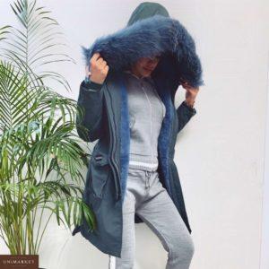 Заказать в интернет-магазине женскую парку аляску на холлофайбере с нашивками темно-синего цвета батал дешево