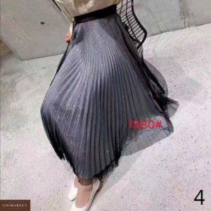 Заказать в подарок женскую плиссе юбку из люрекса + сетка дешево