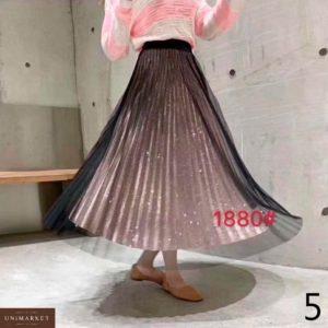 Приобрести недорого женскую юбку плиссе из люрекса + сетка оптом Украина