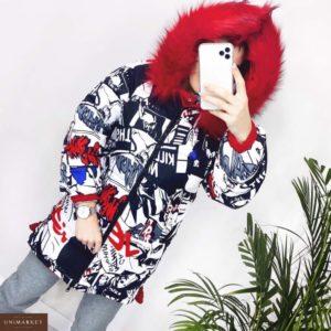 Купить дешево женскую куртку с капюшоном двухстороннюю из холофайбера красного цвета в подарок