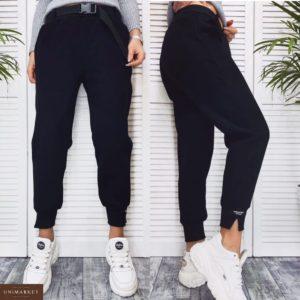 Приобрести недорого женские штаны с ремнём из трикотажа на флисе черного цвета оптом Украина