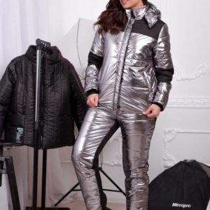 Заказать в интернет-магазине женский серебристый лыжный костюм большого размера из влагостойкой ткани на холлофайбере батал дешево