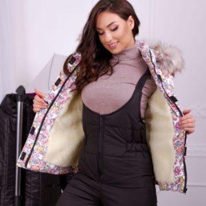 Приобрести дешево женский лыжный теплый костюм из плащевки с принтом аляска больших размеров недорого