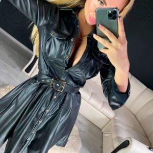 Приобрести недорого женское платье клёш из эко кожи с поясом черного цвета на корпоратив оптом Украина