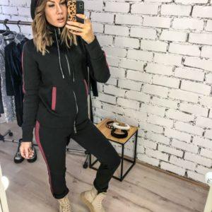 Приобрести дешево женский костюм спортивный с начесом из трехнити теплый цвета черного больших размеров недорого