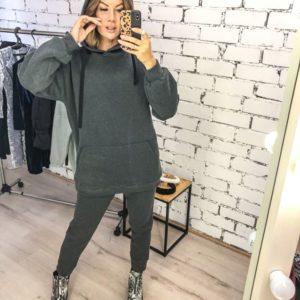 Заказать в подарок женский костюм спортивный: штаны + кофта из трехнити цвета графита дешево