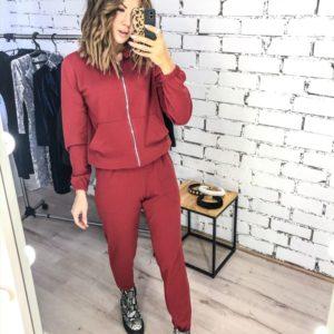 Приобрести недорого женский спортивный костюм тройка: кофта + штаны + юбка красного цвета оптом Украина