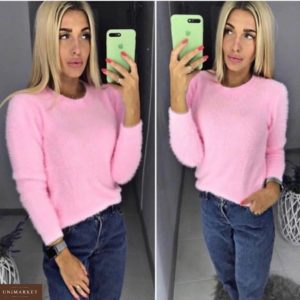 Заказать в подарок женский свитер из стрейч коттона пушистый розового цвета недорого