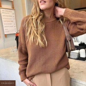Приобрести недорого женский базовый свитер из вязки оверсайз коричневого цвета оптом Украина