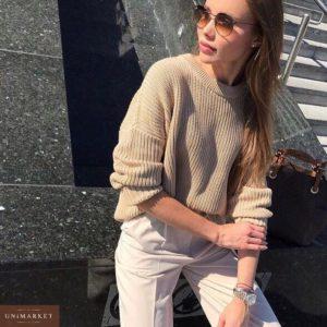 Приобрести в интернет-магазине женский свитер базовый оверсайз из вязки бежевого цвета дешево