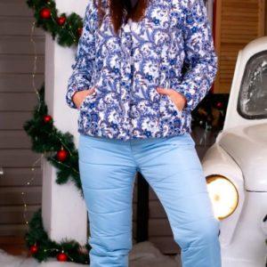 Купить дешево женский голубой лыжный костюм с капюшоном большого размера на холлофайбере в подарок