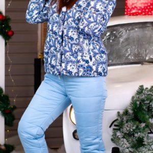 Приобрести недорого женский голубой лыжный костюм на холлофайбере с капюшоном оптом Украина
