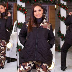 Приобрести недорого женский черный лыжный костюм больших размеров на синтепоне с камуфляжным принтом оптом Украина