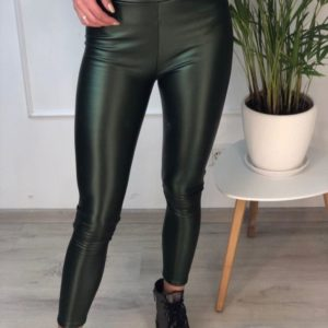 Заказать в подарок теплые лосины женские из кожи эко на флисе зеленого цвета недорого