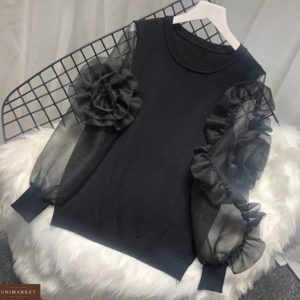Купить дешево женскую кофту с рукавами фонариками и цветами из органзы + трикотажа черного цвета в подарок