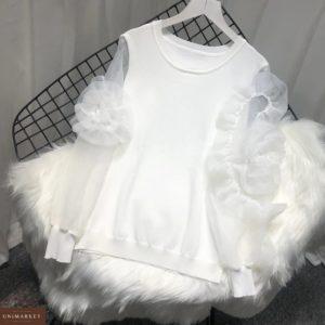 Приобрести недорого женскую кофту с рукавами фонариками и цветами из трикотажа + органзы белого цвета оптом Украина