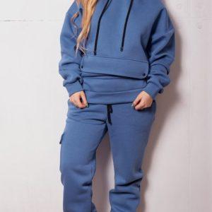 Заказать недорого женский спортивный костюм на флисе с худи и штанами джинсового цвета размеров больших дешево