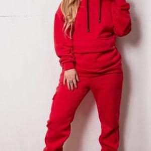 Приобрести дешево женский костюм спортивный на флисе с худи + штаны красного цвета размеров больших оптом