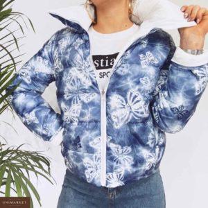 Купить дешево женскую куртку короткую двухстороннюю на холофайбере белого цвета в подарок