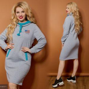 Приобрести дешево женское платье зимнее с воротником и принтом серого цвета больших размеров недорого