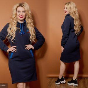 Заказать в интернет-магазине женское зимнее платье с воротником и принтом синего цвета батал дешево