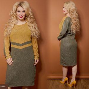 Заказать в интернет-магазине женское двухцветное платье из ангоры с люрексом в цвет хаки/горчица батал дешево