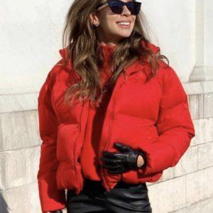 Заказать в подарок женскую куртку короткую дутик на змейке цвета красного дешево
