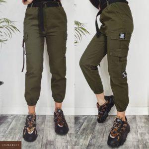 Купить дешево женские штаны с поясом и карманами карго цвета хаки в подарок
