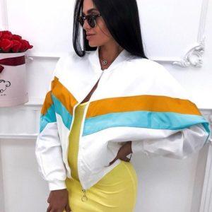 Купить дешево женскую ветровку олимпийку из плащевки на змейке стильную белого цвета в подарок