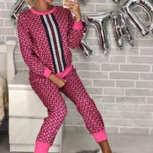 Купить дешево женский костюм из стрейч коттона gucci малинового цвета в подарок