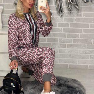 Заказать в подарок женский костюм gucci из коттона стрейч цвета серого дешево