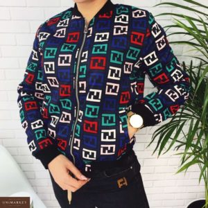 Заказать в подарок женскую куртку короткую fendi из плащевки цвета синего дешево