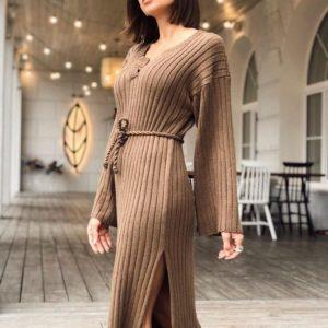 Приобрести недорого женское вязаное платье мокко оверсайз с поясом оптом Украина