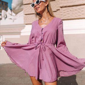 Приобрести недорого женский комбинезон с шортами из хлопка сиреневого цвета оптом Украина