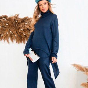Заказать в подарок женский костюм прогулочный с удлиненной кофтой из вязки синего цвета дешево