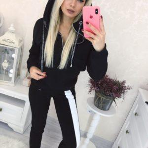 Приобрести недорого женский теплый двухцветный спортивный костюм на флисе черного цвета оптом Украина