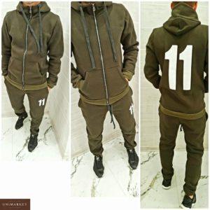 Заказать недорого мужской спортивный теплый костюм на флисе цвета хаки в подарок