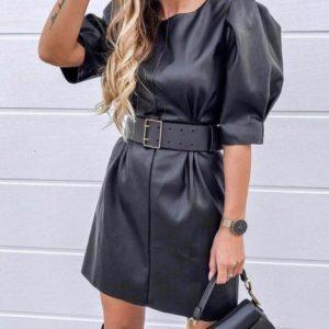 Приобрести недорого женское платье из эко-кожи с поясом цвета черного оптом Украина