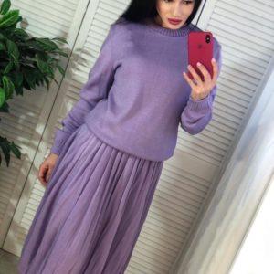 Заказать недорого костюм женский с юбкой плиссе из вязки с шерстью сиреневого цвета оптом Украина